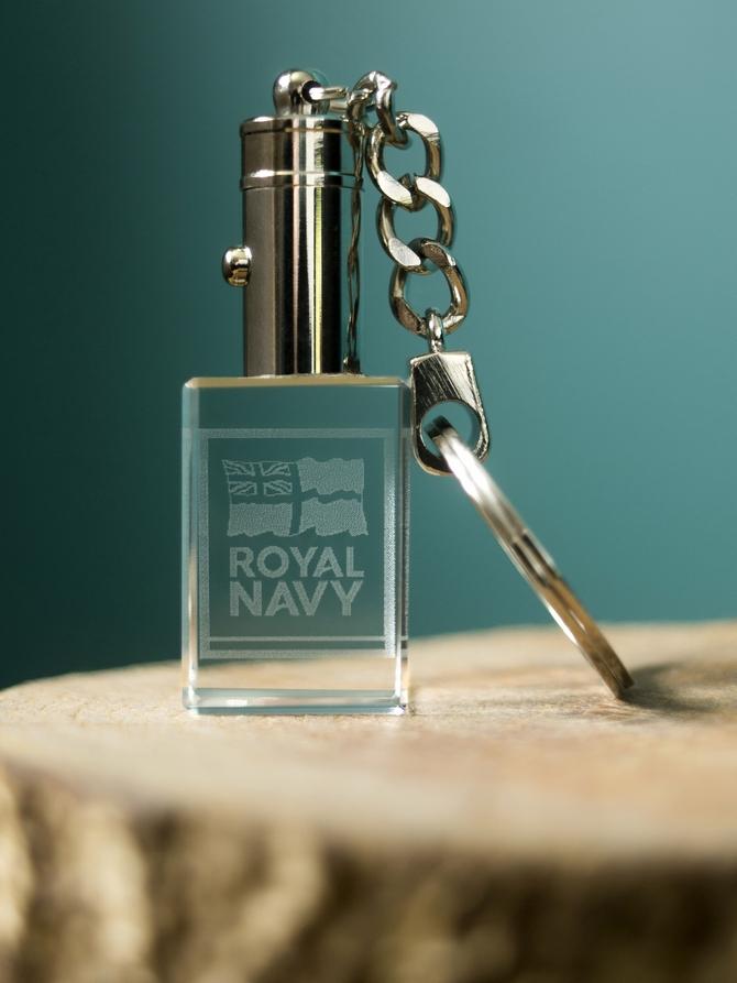 Royal Navy Logo Laser Etched Crustal Keyring
