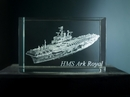 HMS Ark Royal Laser Etched Crystal